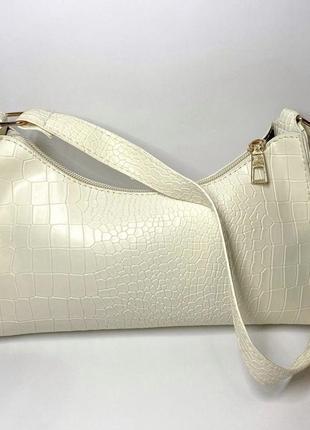 Сумка сумочка багет винтаж ретро крокодил бежевая светлая клатч