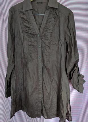 Рубашка удлиненная коричневая.