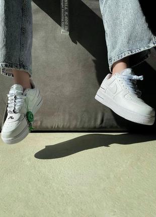 Шикарные женские кроссовки унисекс nike air force 1 double air white наложка6 фото
