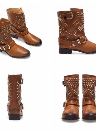 Кожаные байкерские ботинки zara