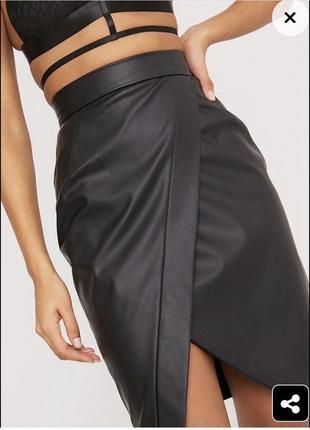 Новая виниловая юбка миди торга нет3 фото