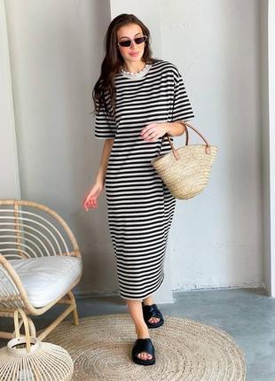Летнее легкое натуральное коттоновое платье футболка миди