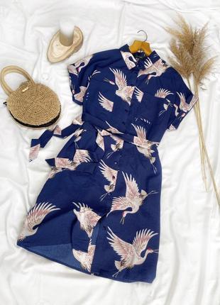 Красивое платье-рубашка с птицами