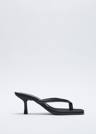 Босоножки zara на шпильке туфли кожаные