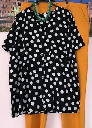 Натуральная блуза в горохи