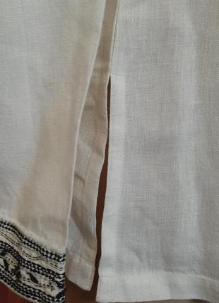 Белая льняная рубашка  блузка лён 100% вышивка туника east3 фото