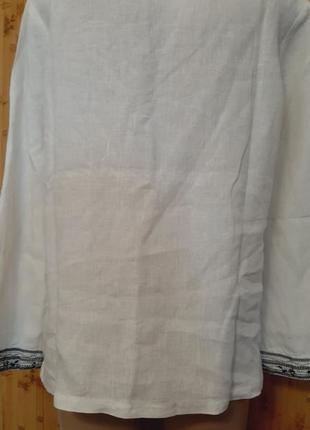 Белая льняная рубашка  блузка лён 100% вышивка туника east4 фото