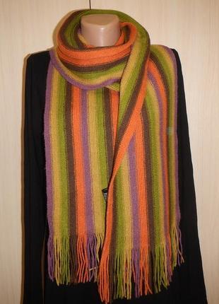 Теплый шерстяной шарф палантин massimo dutti 100% шерсть