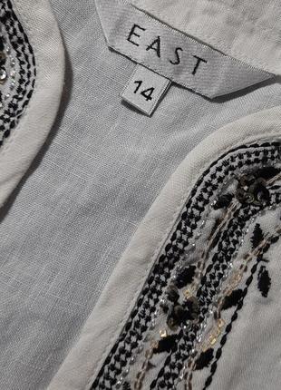 Белая льняная рубашка  блузка лён 100% вышивка туника east5 фото