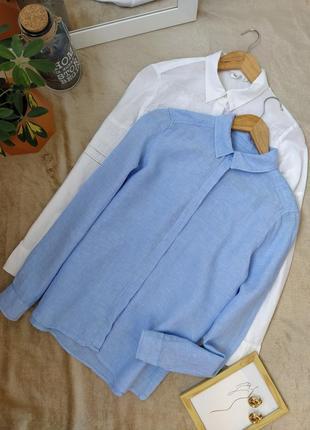 Льняная голубая рубашка marks & spencer