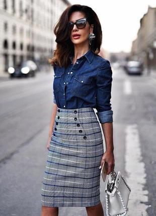 Скидка шикарная джинсовая рубашка esmara с оригинальными пуговицами, батал xl-xxl