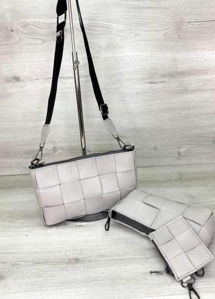 Плетеная женская сумка с косметичкой комплект 3 в 1 aliri-637-01 серая