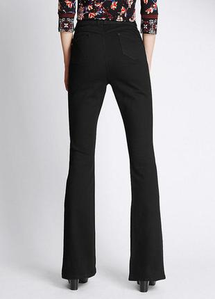 M&s per una черные стрейчевые джинсы клеш высокая талия расклешенные