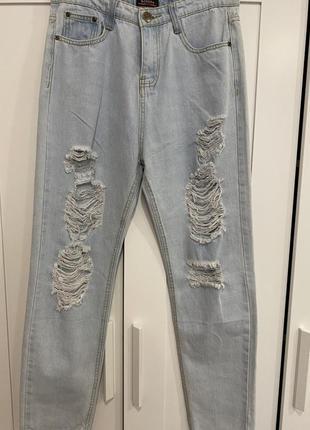 Lee светло-голубые джинсы мом