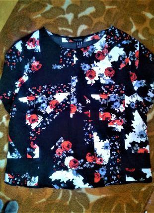 Блуза короткий рукав флора принт