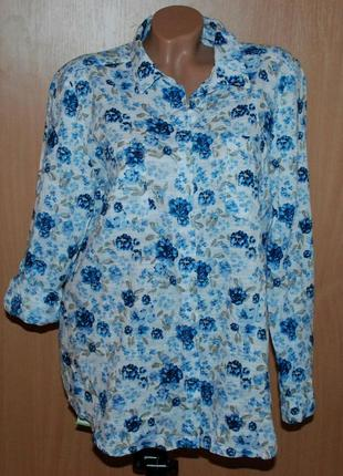 Блуза принтованая бренда jane & delancey / 100% хлопок / регулируемый рукав /