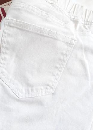 Белые идеальные джинсы коттоновые на резинке эластичные, 20размер большие