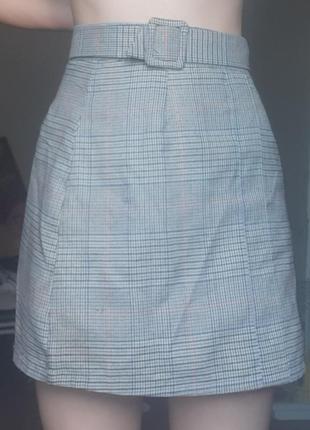 Мини юбка в клетку с поясом летняя тонкая серая тренд