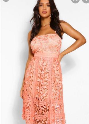 Нарядное ажурное миди платье солнце клеш кружево сукня плаття