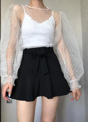 Топ блузка из органзы белый белая прозрачная