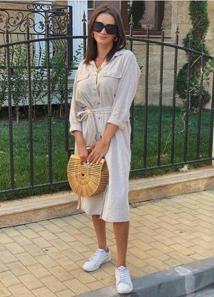 Льняное платье h&m рубашечный крой 44-46 , 48-50 , 52-54, 56-58
