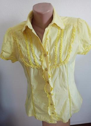 Хлопковая рубашка лимонного цвета