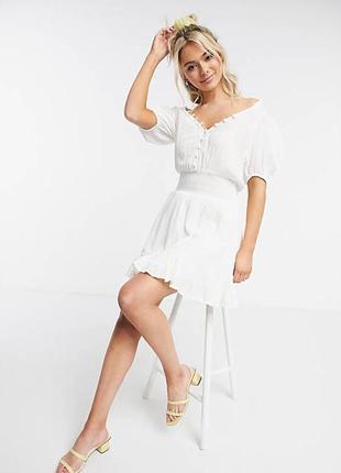 Новое белоснежное платье asos! натуральный 100% хлопок! люкс!