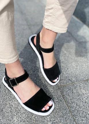 Кожаные черные босоножки сандали сандалии шкіряні босоніжки