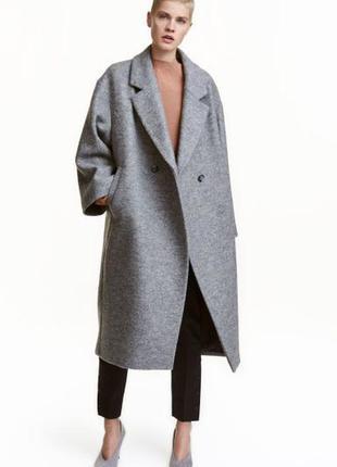 Длинное шерстяное пальто оверсайз от h&m