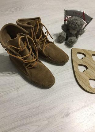Ботинки- мокасины, удобные, натуральная замша
