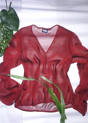Прозора темно-червона блуза