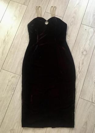 Платье бархатное бархат велюровое вечернее миди с жемчугом по фигуре футляр1 фото