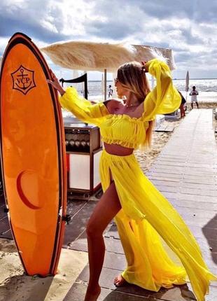 Пляжный костюм / шифоновый костюм / костюм с юбкой с разрезами / топ и юбка с разрезами