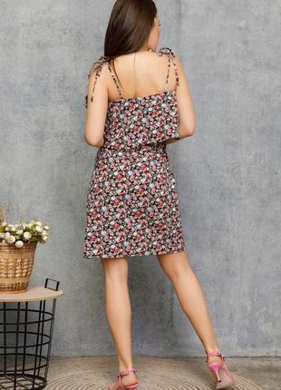 🌿 цветочный черный сарафан на кулиске с воланом3 фото