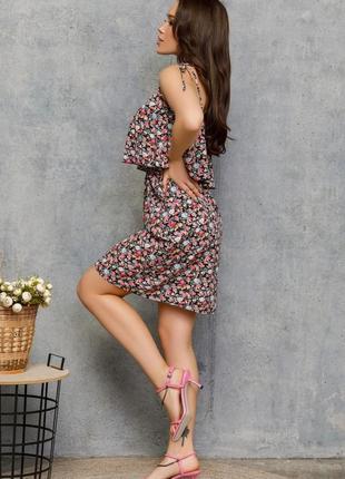 🌿 цветочный черный сарафан на кулиске с воланом2 фото