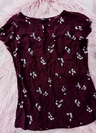 Топ блузка в цветочный принт интересные рукава