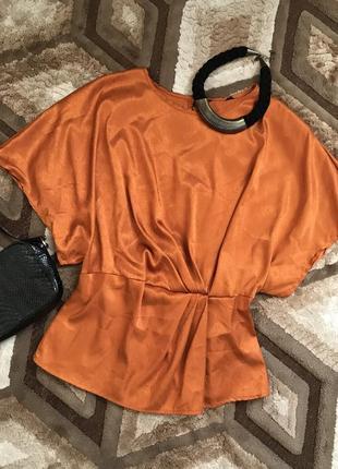 Летняя блуза свободная футболка шелковая блуза с коротким рукавом на резинке