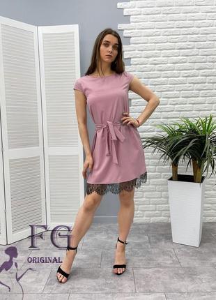 Летнее платье с кружевом 9700