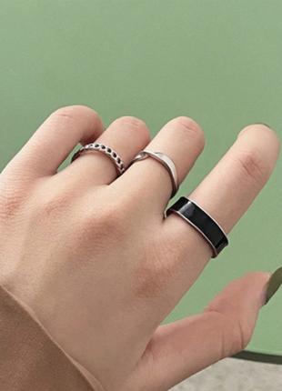 Кольцо кольца каблучки 3 шт набор комплект стильные тренд под серебро с эмалью новые