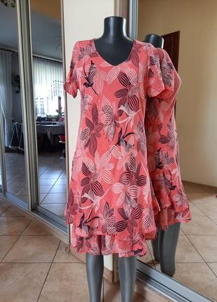 Комфортное двухслойное платье 👗большого размера