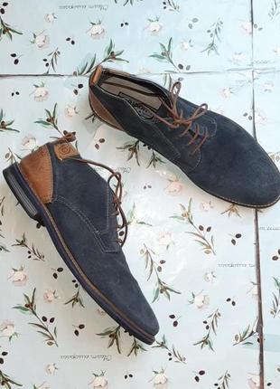 🎁1+1=3 фирменные синие кожаные мужские туфли bugatti, размер 44