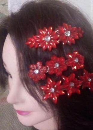 Красивая красная заколка автомат/бижутерия/резинка/украшения для волос/заколка