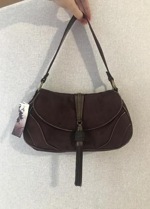 Красивая сумочка багет под замшу