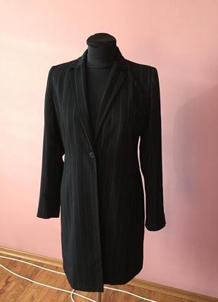 Чёрный кардиган в мелкую полоску на одной пуговице, ткань плотная р-р 46.1 фото
