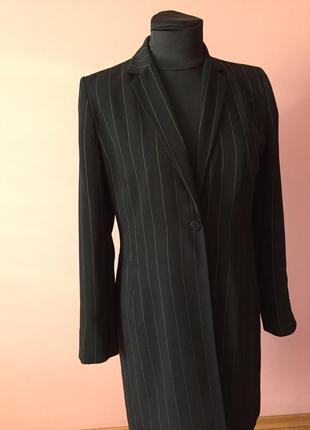 Чёрный кардиган в мелкую полоску на одной пуговице, ткань плотная р-р 46.3 фото
