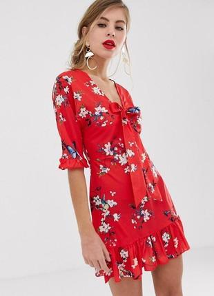 Шикарное стильное яркое платье в цветы asos на завязке спереди, код 0076