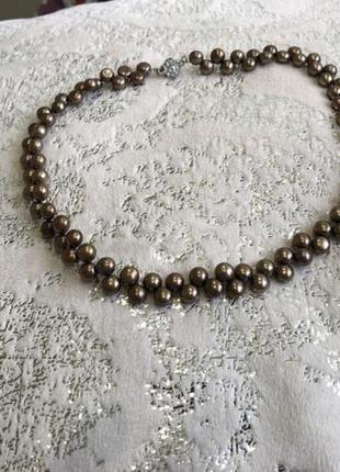 Колье натуральный жемчуг натуральні перли намисто кольє  бусы