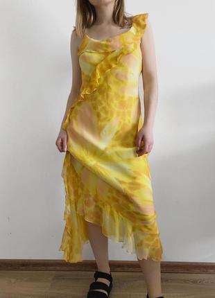 Винтажное шелковое миди платье желток цветочный принт mango