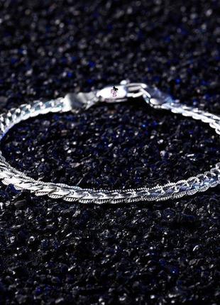 Красивый браслет цепочка на мужскую и женскую руку унисекс под белое золото серебро