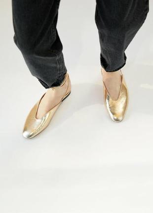 Золотистые мюли туфли босоножки zara 2021